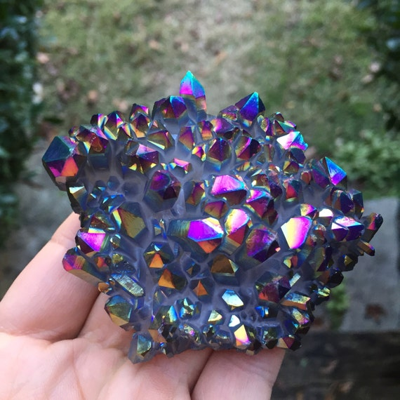 Reiki Love Infused Spiritual Junkies Rainbow Aura Titanium Electroplated Quartz Cluster Healing Crystal and Gemstone
