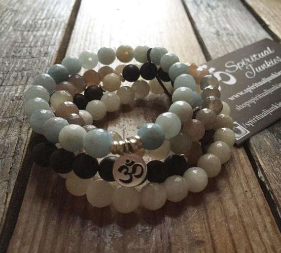 Earth, Ocean, Sun + Moon Stack of 4 Agarwood, Aquamarine, Sunstone + Moonstone Spiritual Junkies Yoga Bracelets with Hill Tribe Om