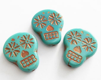 2 -Turquoise with Copper Wash 20x17mm Sugar Skull Beads, Czech Glass Beads, Opaque, Day of The Dead, Monkeyshine Beads
