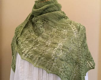 Hand knit shawl, shawlette, scarf, green, merino wool