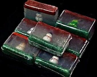 Snowmen Peppermint Cedar Home Made Soap Bar / Melt and Pour Soap / Glycerin Soap /  Snowman Eraser / Kid Soap