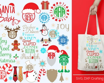 Christmas svg frames, cutting file, svg santa, reindeer svg, christmas SVG, DXF, Cricut Design Space, Silhouette Studio, Cut Files