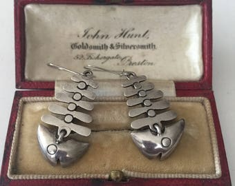 Vintage Silver Fish earrings, amazing piece