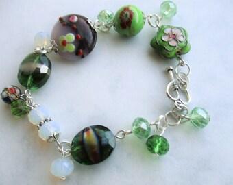 Boho Jewelry Boho Bracelet Beaded Bracelet Charm bracelet Gift Bohemian Jewelry BOHEMIAN Stackable bracelet Summer Beach Green Gypsy Crystal