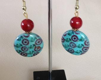 Semi precious red coral,Red & turquoise ,Drop earrings,Gold fish hooks,Dangling earrings,Long earrings,Womens earrings,Womens jewellery.