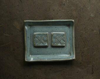 Seafoam Glazed Ceramic Soap Dish with Geometric Design