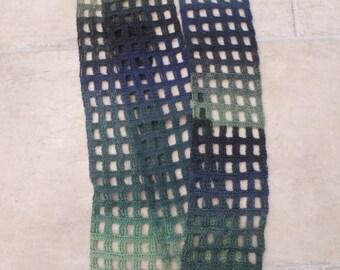 Handmade  windowpane crochet scarf  - greens and blues