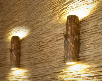 Wooden sconces, wall light from natural logs