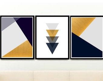 Scandi Print, Geometric art Print, Triptych, Printable  Art, Set of 3, Instant Download, Navy and Gold Art,  Home Decor, wall Decor