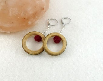 Wooden earrings, red handfelted wool