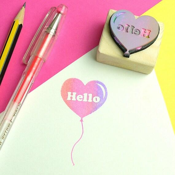 Heart balloon custom name rubber stamp retro s