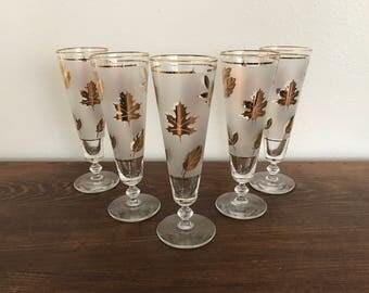 Vintage Libbey Frosted Gold Leaf Pilsner Glasses - Set of 5