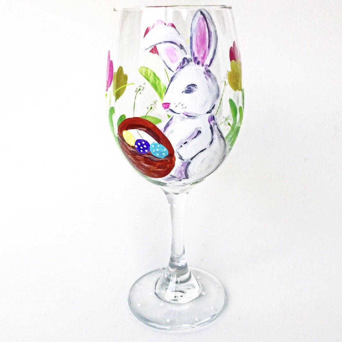 easter bunny wine glass spring tulips easter eggs basket. Black Bedroom Furniture Sets. Home Design Ideas