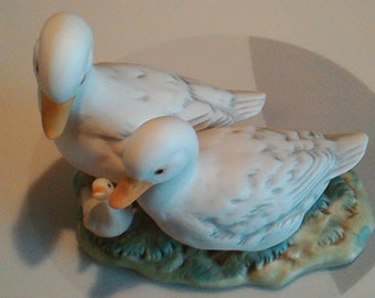 Vintage 1980's Porcelain Bisque Duck Family Figurine Homco 1425