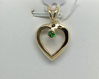 14K Yellow Gold Natural Tsavorite Garnet Pendant