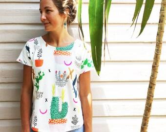 Pot Plant Cactus Garden 100% organic cotton jersey ladies sleeve top
