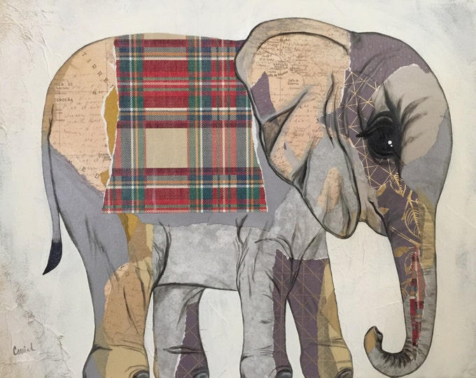 16x20 Original Paper Collage Elephant Painting