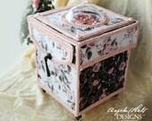 Rose Quartz Card Box with 6 handmade Cards