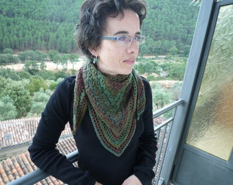 Triangular scarf, crocheted scarf, scarf in greens