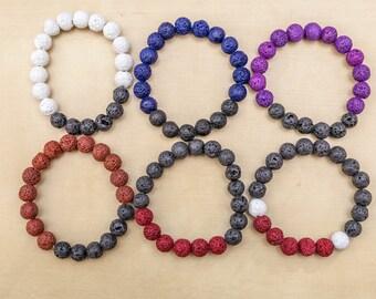 BJJ (Brazilian Jiu Jitsu) Rank lava beads bracelet's