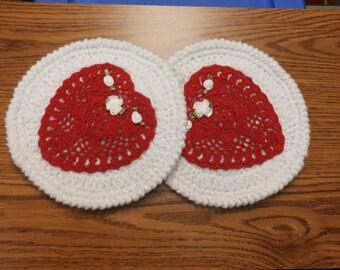Handmade Heart Valentine Crochet Trivet Potholder - set of 2
