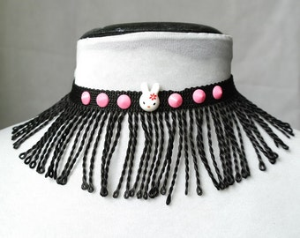 Black fringe necklace, White Rabbit choker, Matrix choker, Cyber choker, Flapper necklace, Alternate reality choker, Neon UV reactive choker