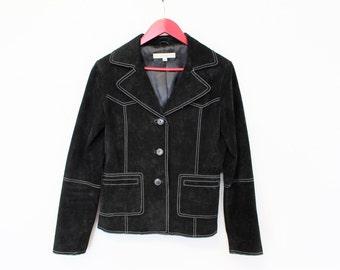 Black Suede Blazer  Black Suede Military Jacket  Black Leather Bomber Jacket Single Breasted Classic Suede Blazer Medium Size