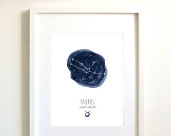 Taurus constellation   Taurus art   Taurus zodiac   personalized gift   astrology art   zodiac art print   star sign   sky   indigo blue