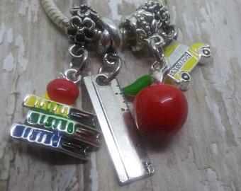 School Teacher, Pandora style charms, Apple, Books, Ruler, School Bus, Fits Chamilia, Biagi charm bracelet