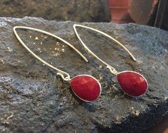 Threader Earrings Ruby Earrings July Birthstone Sterling Silver Earrings Ruby Jewelry Teardrop Earrings Gemstone Earrings