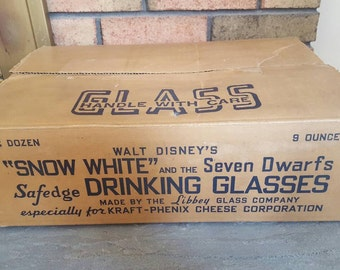 1938 Snow White and the 7 Dwarfs Drinking  glasses Kraft Cheese Corp 24 glasses