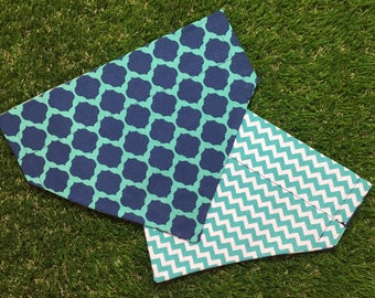 Teal and Navy Over the Collar Dog Bandana // Preppy Dog Scarf // Quatrefoil Reversible Dog Bandanna // Dog Gift // UNC Wilmington Bandana