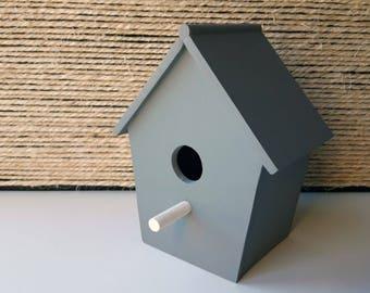 Small decorative Bird House | Wooden Bird House | Grey | Mint