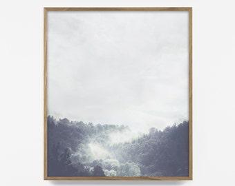fog print, fog photo, treetop photo, popular forest print, cloud forest art, forest photography, fog photo, fog photography, nordic print