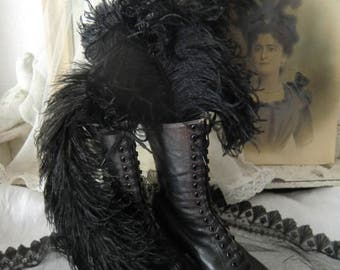 Vintage ostrich feathers black dark shabby chic 3 piece