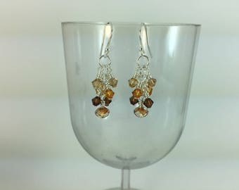 Topaz Swarovski Crystal Wire Wrapped Sterling Silver Dangle Earrings
