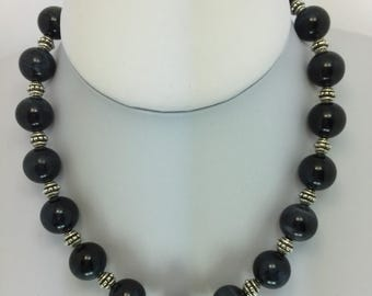Chunky Agate Beaded Classic Necklace Blue Black Grmstone Jewellery