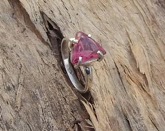Natural Pink Tourmaline Gemstone 925 Sterling Silver Ring Size 6, Handmade Birthstone Tourmaline Gemstone Ring 6