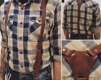 Leather Suspenders, leather suspenders brown/green/blue/black, Men's and womens Suspenders, skinny suspenders, Groomsmen
