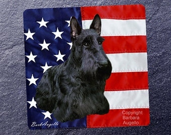 Scottie Coasters, Scottie Patriotic Coasters, Scottie Gift, Scottie Art, Scottie Art Tiles, Scottie, Scottish Terrier