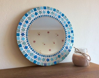 Round Mosaic Wall Mirror 30cm in Turquoise / Aqua / Blue / Silver - Bathroom *Made to Order*