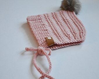 Pixie Bonnet + Faux Fur Pom// Custom Made