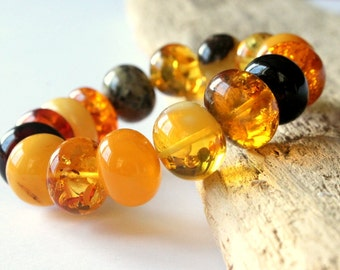 Massive amber bracelet, semi round amber beads, multicolor amber jewelry, natural Baltic amber, amber jewelry, elegant amber bracelet