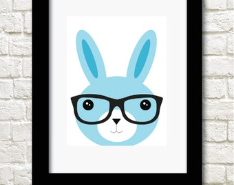 A4 cute bunny rabbit print available in 2 colours boy childrens decor wallart