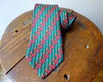 Gucci Tie Vintage 70s Silk 100% Green Red classic Gucci Design