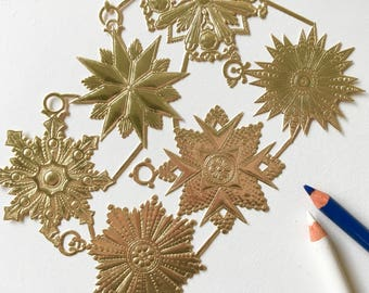 Embossed Foil Dresden Die Cut Trims. Die Cut Medallion Sheet. Scrapbooking Supplies. Card Making Supplies.