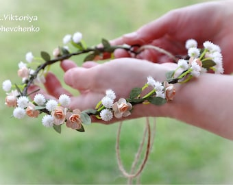 Wedding flower crown Bridal Crown Flower Girl Crown Wedding hair wreath Peach white flower crown Bridal crown Floral LV12