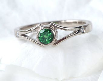 Tsavorite and Diamond Engagement Ring | Ethical 18k White Gold | Handmade to Size in the UK