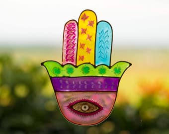 Pastel Colored Hamsa Hand, Made In Israel, Evil Eye Protection Window Suncatcher