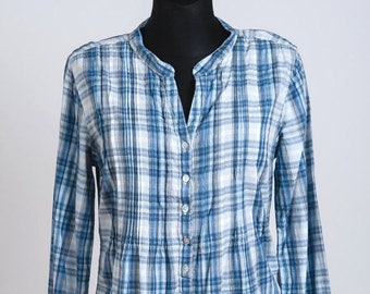 ON SALE 20 % Blouse peasant pure cotton shirt caro checkered Vintage Europe size S/M Small/Medium womens summer fashion apparel